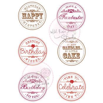 Wild Rose Studio Clear Stamp Set Birthday Circles