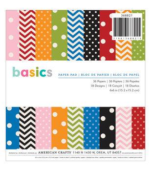 "American Crafts Paper Pad 6""X6"" 36/Pkg-Basics"