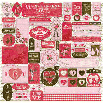 Authentique Smitten Cardstock Stickers Details Icons, Sentiments, Tags