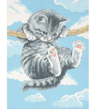 Dimensions Learn To Paint! Paint By Number Kit 9''X12''-Hang On Kitty