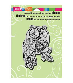 "Stampendous Halloween Cling Rubber Stamp 5.5""X4.5"" Sheet-Penpattern Owl"
