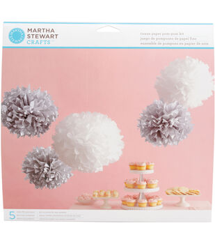 Tissue Paper Pom Pom Kit-Silver/White