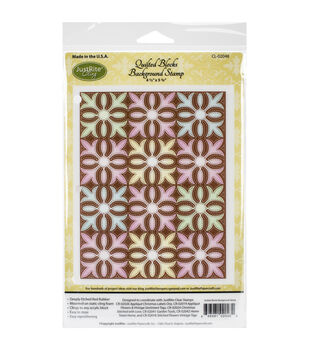 """JustRite Papercraft Cling Background Stamp 4.5""""X5.75""""-Quilted Blocks"""