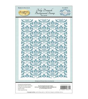 JustRite Papercraft Cling Background Stamp Tulip Damask