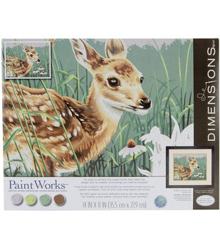"""Paint By Number Kit 14""""X11""""-Fawn & Flowers"""