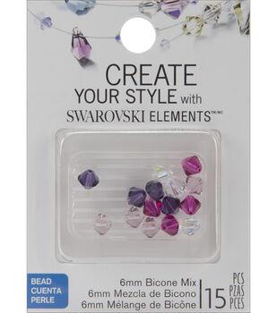 6mm Create Your Style Swarovski Bicone Beads-Fuchsia Mix 15/pk