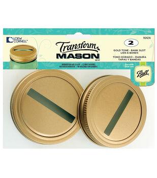 TransformMason Bank Slot Lids & Bands 2/Pkg-Gold