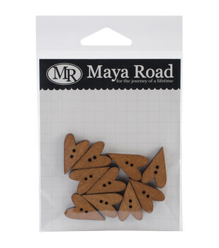 Maya Road Stained Hearts Wood Buttons 10/Pkg