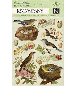 K & Company Flora & Fauna Grand Adhesions-12PK/Birds & Leaves