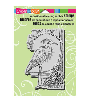 """Stampendous Cling Rubber Stamp 5.5""""X4.5"""" Sheet-Heron"""