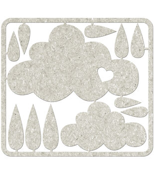 Fabscraps Clouds & Raindrops Die-Cut Gray Chipboard Embellishments