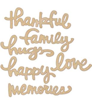 Little Yellow Bicycle Wood Family Word Embellishments