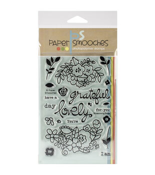 """Paper Smooches 4""""X6"""" Clear Stamps-Blossoming Buds"""