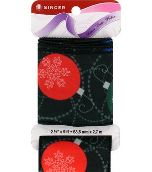 "Singer Christmas Ornaments Satin Ribbon 2 1/2"" x 9ft."