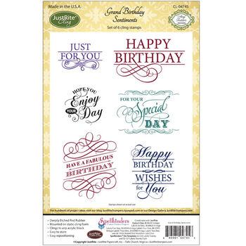 Justrite Stampers Cling Stamp Set Grand Birthday Sentiments