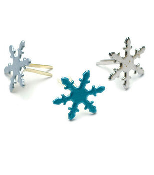 Painted Metal Snowflake Paper Fasteners-50PK/Pearl