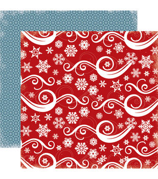 "All Bundled Up Double-Sided Cardstock 12""X12""-Snowflake Swirl"