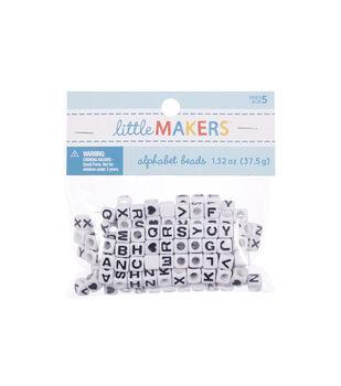 Darice Alpha Beads 6mm 160/Pkg White Beads W/Black Letter