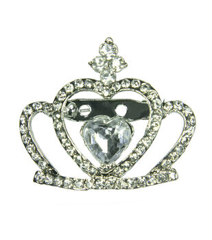 Laliberi Rhinestone Pin - Crystal Crown in Silver