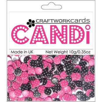 Craftwork Cards Candi Dot Printed Embellishments Raspberry Truffle