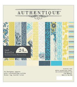 """Authentique Bundle Cardstock Pad 6""""X6"""" 24/Pkg-Favorite"""