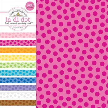 Doodlebug Flocked La-Di-Dot Specialty Cardstock Value Pack