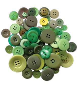 Button Embellishment Fashion Dyed Buttons 60g-Greens