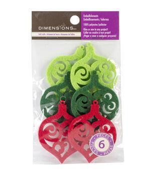 Feltworks Laser Cut Ornaments-Green, Lime & Red 6/Pkg