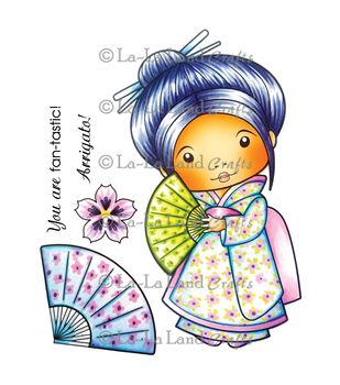 La-La Land Crafts Cling Mount Rubber Stamp Kimono Marci With Fan