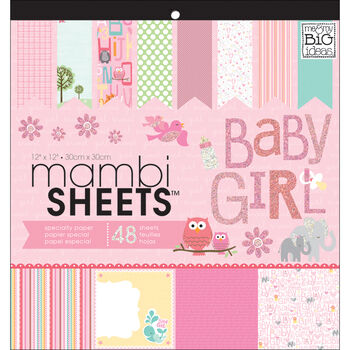Me & My Big Ideas Mambi Sheets Specialty Cardstock Baby Girl Animals