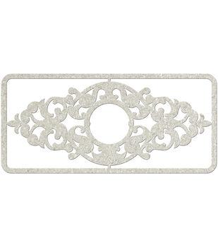 Fabscraps Filigree Long Frame Die-Cut Gray Chipboard Embellishments