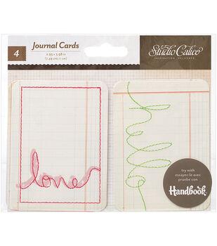 Printshop Stitched Journaling Cards 4/Pkg-