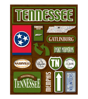 Reminisce Dimensional Stickers-Tennessee