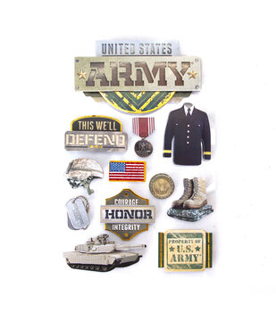 """Paper House 3D Stickers 4.5""""x8.5""""-Army"""
