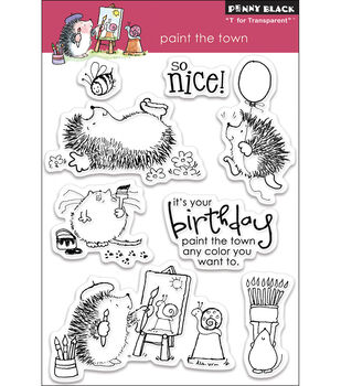 """Penny Black Clear Stamps 7.5""""X5"""" Sheet-Paint The Town"""