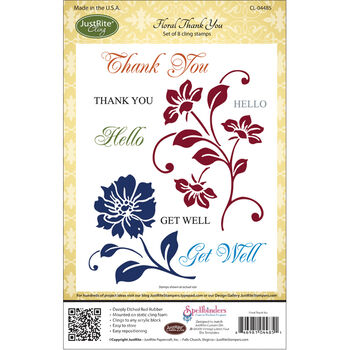 JustRite Cling Stamp Set Floral Thank You