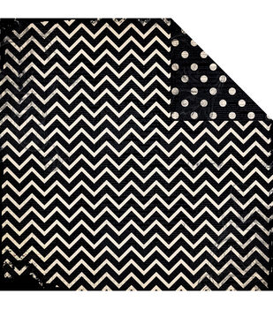 "BoBunny Double Dot Chevron Double-Sided Cardstock 12""x12""-Licorice"