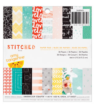 American Crafts Amy Tangerine Stitched Paper Pad 6''x6''