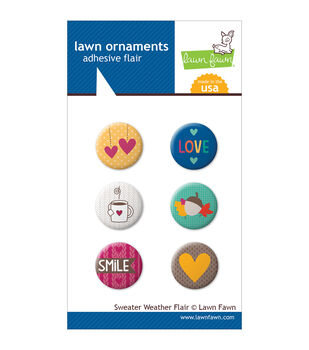 Lawn Fawn Sweater Weather Lawn Ornaments Adhesive Flair 6/Pkg-