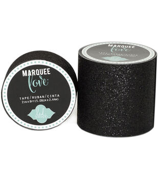 "Heidi Swapp Marquee Love Washi Tape .875""-Black Glitter, 10'"