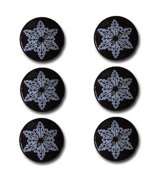 Maya Road Etched Snowflakes Wooden Buttons