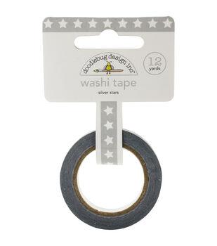 Doodlebug Silver Stars - Washi Tape 8mm x 12yds