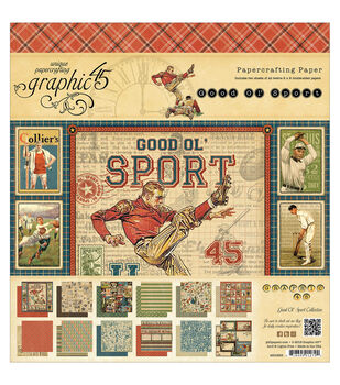"""Good Ol' Sport Double-Sided paper Pad 8""""X8""""-24 Sheets -12 Designs, 2ea"""