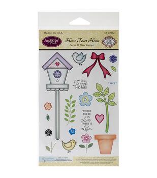 JustRite Papercraft Home Tweet Home Clear Stamp Set