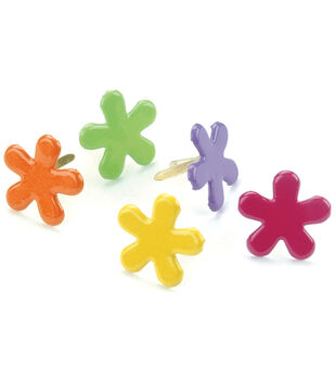 Creative Impressions Painted Metal Paper Fasteners 50PK-Tropical-Funky Flowers