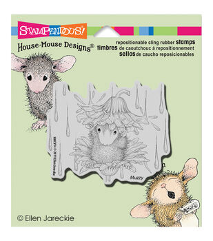 """Stampendous House Mouse Cling Rubber Stamp 3.5""""X4"""" Sheet-Rain Flower"""