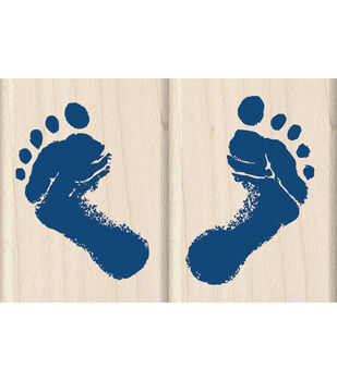 Inkadinkado Baby's Feet Wood Mounted Stamps Set