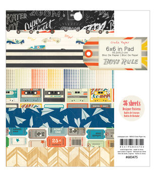 """Boys Rule paper Pad 6""""X6"""" 36/Sheets-Single-Sided"""