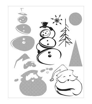 """Tim Holtz Cling Rubber Stamp Set 7""""X8.5""""-Halftone Christmas"""