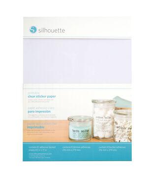 "Silhouette Printable Sticker Paper 8.5""X11"" 8/Pkg-Clear"